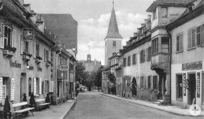 Das alte Krozingen: Blick in die Basler Straße, um 1930
