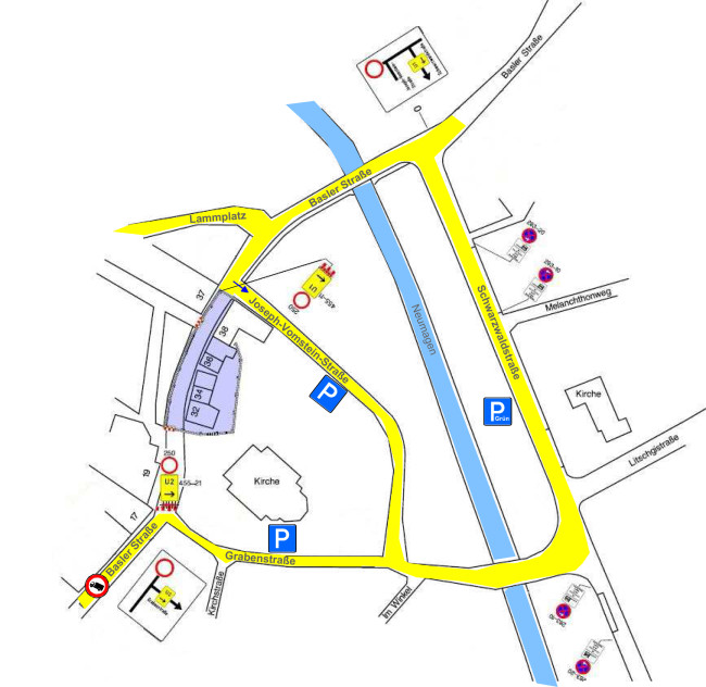 Plan der Verkehrslenkung während der Bauarbeiten in der Basler Straße