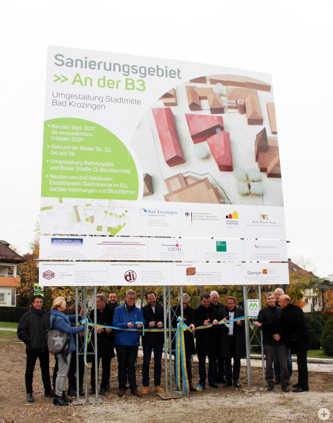 """Feierliche Enthüllung des Bauschildes """"Umgestaltung der Innenstadt Bad Krozingen"""""""