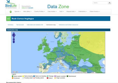 Saatkrähen Verbreitungskarte Europa