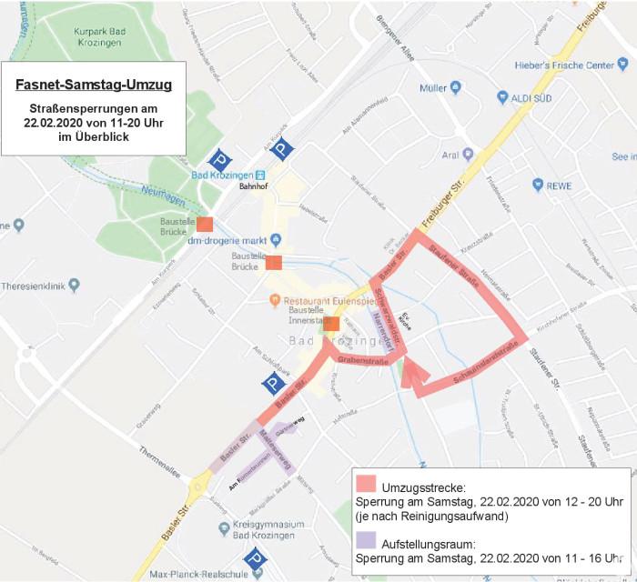 Plan von der Strecke des Fasnets-Samstagsumzug