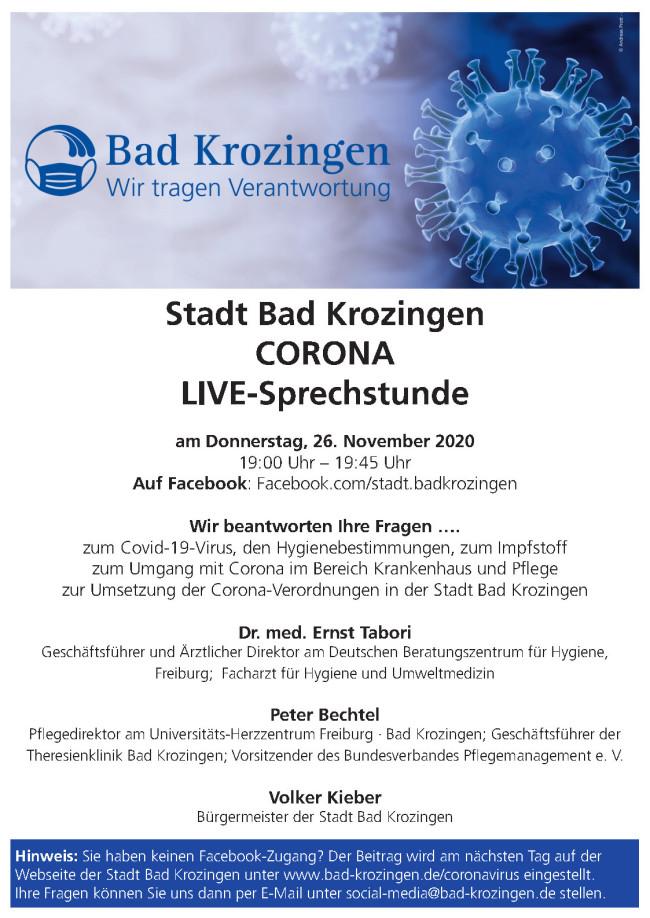 Einladung zur Corona Live Sprechstunde der Stadt Bad Krozingen am 26.11.2020 auf Facebook