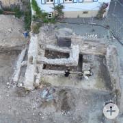 Luftbild Archäologische Ausgrabungen Rathausplatz - Reste der Ortsburg