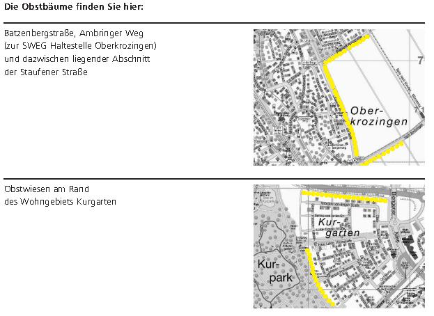 Standorte der Obstbäume für Bürger